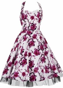 1940's 1950's Vintage Style Pink Rose Full Circle Rockabilly Jive Swing Party Prom Tea Dress