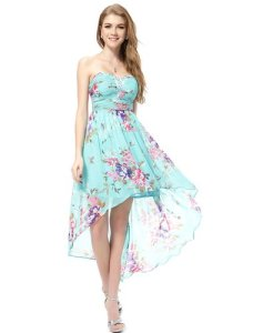 Ever Pretty Strapless Rhinestones Ruched Bust Hi-Lo Floral Summer Dress