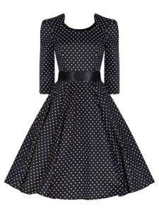 Ladies 40's 50's Vintage Style Black Polka Dot Crop 34 Sleeve Rockabilly Tea Dress