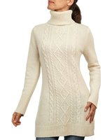 Wool Overs Women's Lambswool Polo Cable Jumper Dress