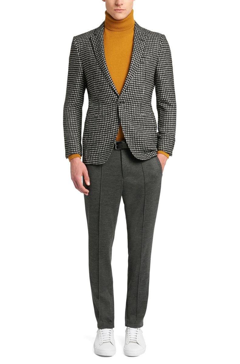 Checked extra slim-fit Tailored jacket in new-wool blend: 'T-Reece' by BOSS