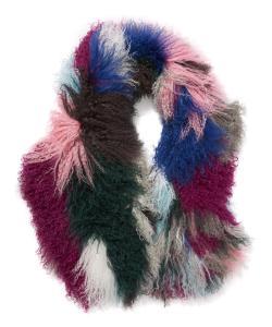 Charlotte Simone Mongolian Lambswool Kaleidoscope Cuff Stole