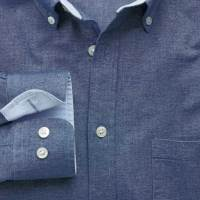 Classic fit denim blue washed Oxford shirt at Charles Tyrwhitt