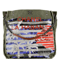 Hobo handbag, canvas, sequins & rutheniuChanelm metal-khaki, blue & red by CHANEL