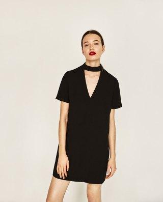 Mini Dress with Collar Detail at Zara