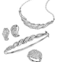 Wrapped in Love™ Diamond Twist Earrings, Necklace, Bangle and Ring (4 ct. t.w.) in Sterling Silver at Macy's