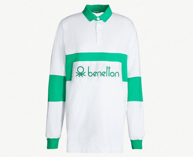Benetton unisex logo embroidered cotton jersey polo shirt