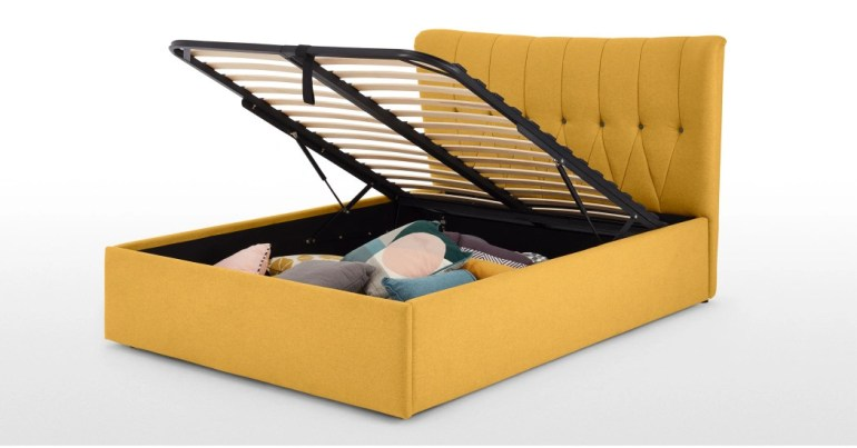 Charley King Size Bed with Ottoman storage Yolk Yellow 2