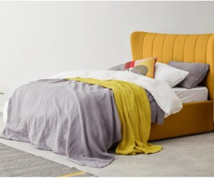 Charley King Size Bed with Ottoman storage Yolk Yellow
