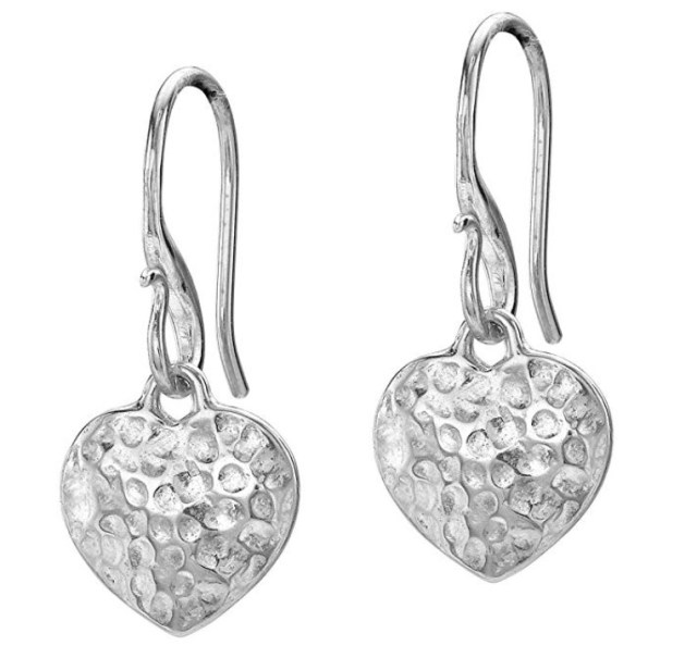 Dower & Hall Nomad Sterling Silver Beaten Heart Drop Earrings