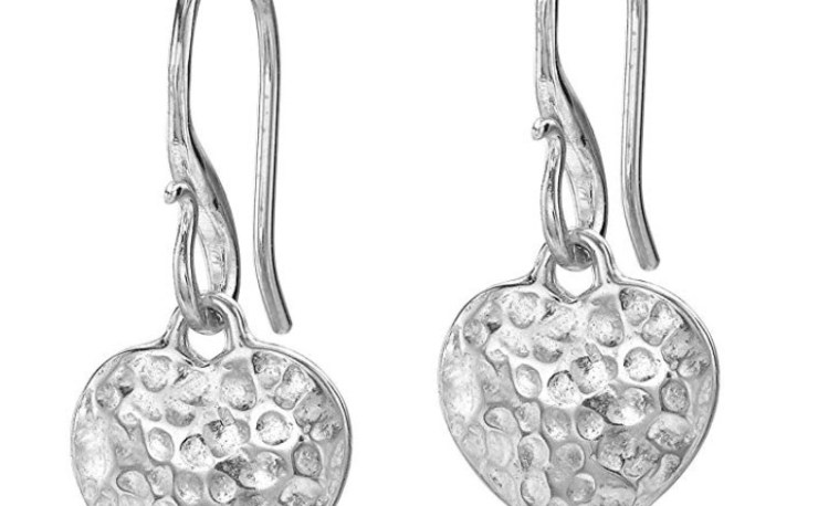 Dower & Hall Nomad Sterling Silver Beaten Heart Drop Earrings