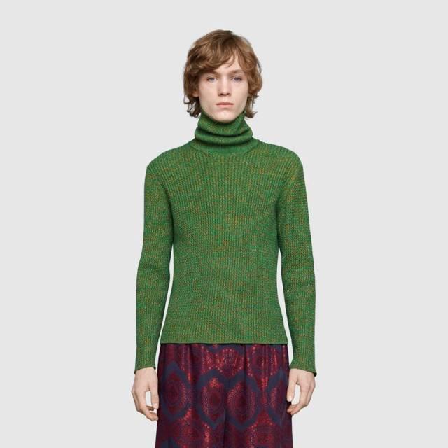 Gucci Light Cable knit cotton lurex turtleneck 2