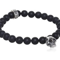 King Baby Men's 925 Sterling Silver Skull and Black Onyx Bead Charm Bracelet