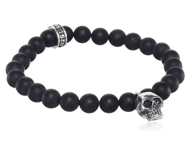 King Baby Men's 925 Sterling Silver Skull and Black Onyx Bead Charm Bracelet