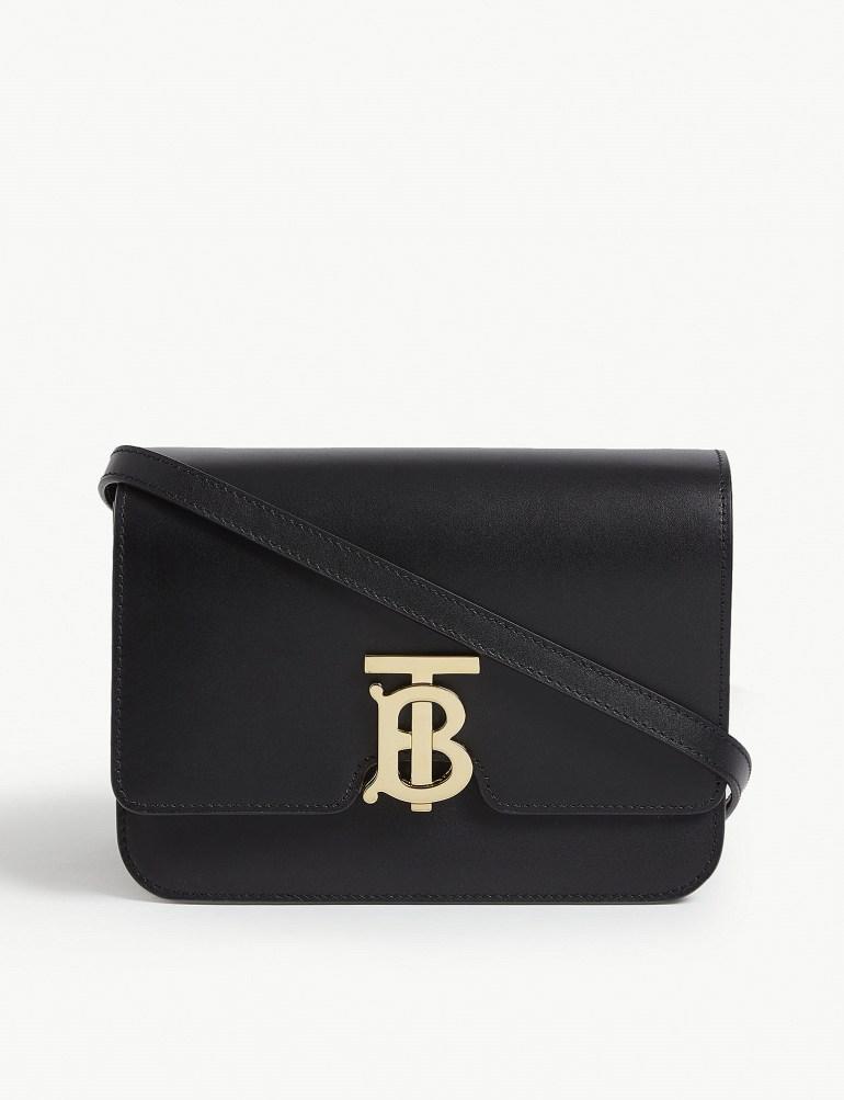 Burberry logo leather shoulder bag at Selfridges
