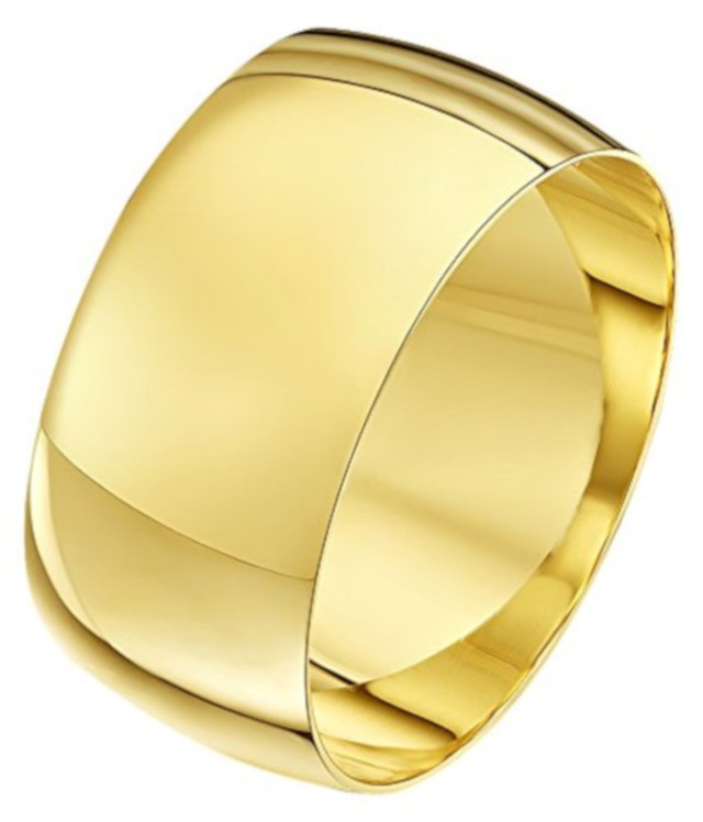Theia Unisex 9 ct Yellow, White or Rose, Heavy D Shape, Polished, 2-10 mm Wedding Ring at Amazon