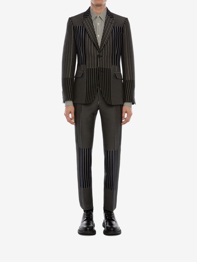 Alexander McQueen patchwork pinstripe jacket men