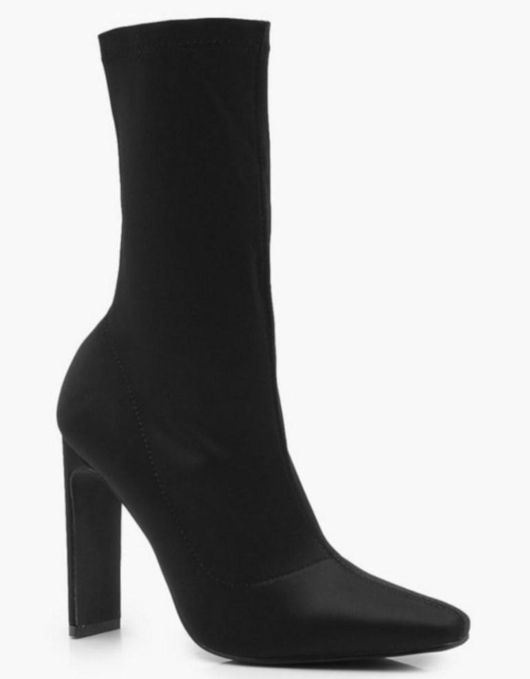 Boohoo.com Slim Straight Heel Sock Boots