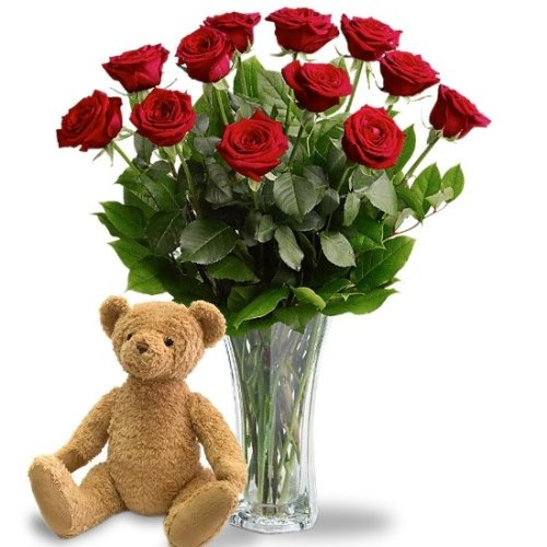 Dozen-Roses-with-Plush-Teddy-Bear