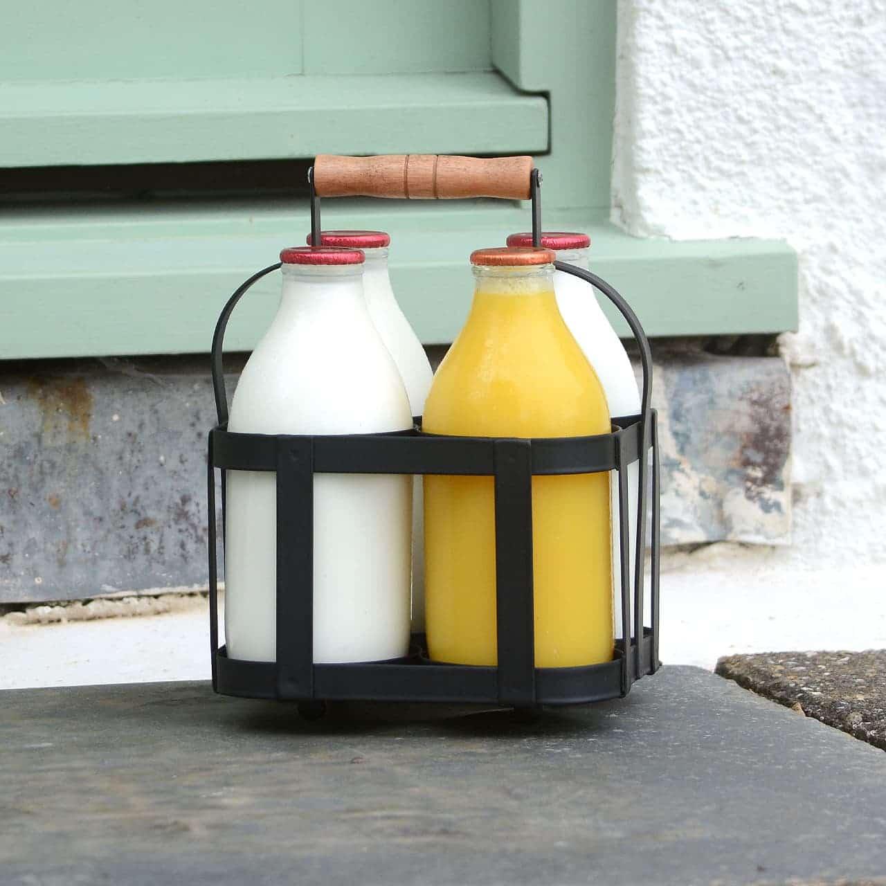 transporteur de livraison de bouteille de lait en acier enduit de poudre vintage tenir 4 bouteilles