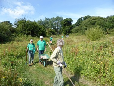 IW Green Gym volunteers building a path ,August 2016