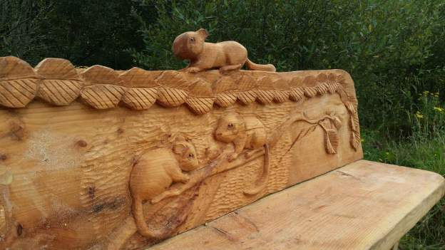 Pan Pollen Trail carved bench