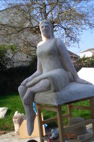 The sculpture 'Bettina of the Medina' before she was installed.