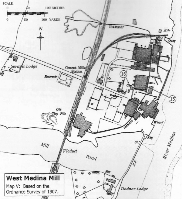 Based on the 1907 OS map showing the West Medina Mills Cement works