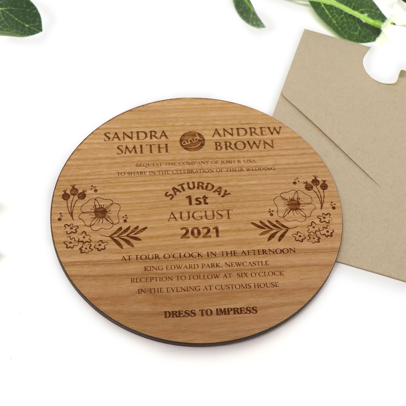 It is a special day for loved ones to gather and celebra. Engraved Wooden Wedding Invitations Large Round Timber Wedding Invites