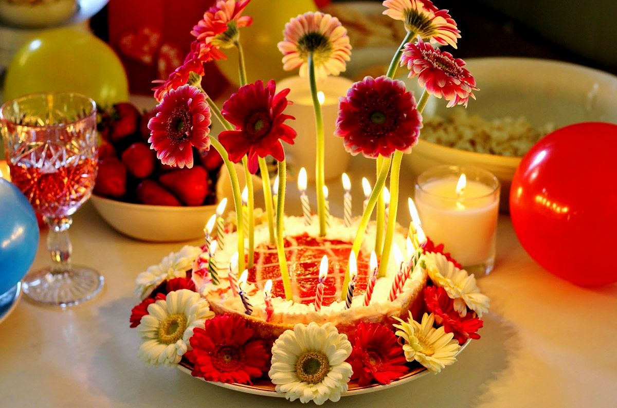 Happy Birthday Cake With Flowers Images