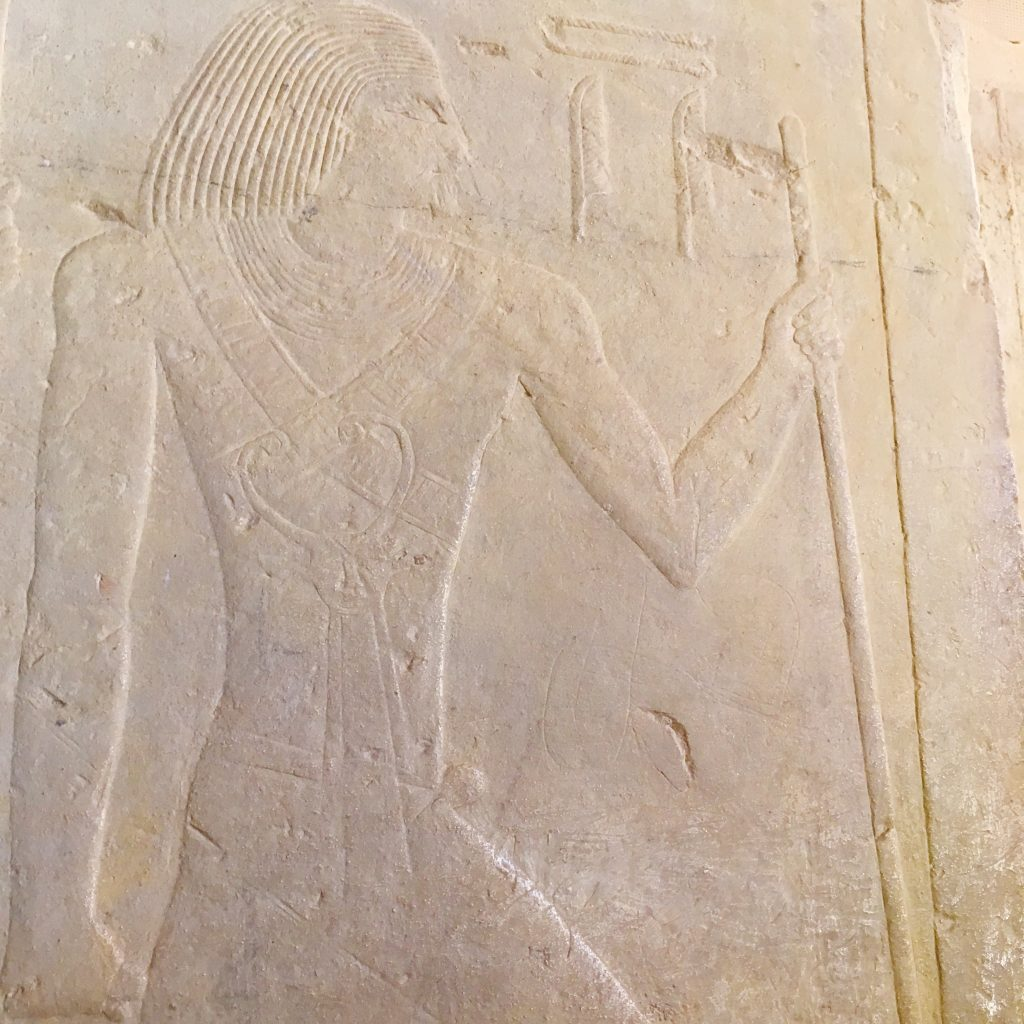 Ti Master of secret words wearing rare collar of goddess Bat representing feminine power in his mastaba in Sakkara by Gigal