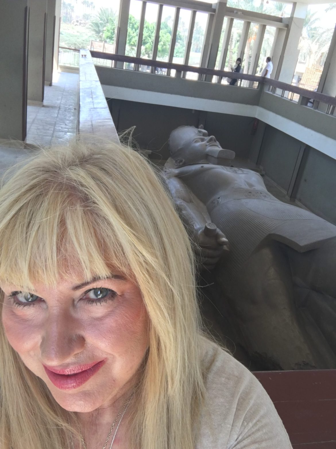 Antoine Gigal with the statue of Ramses II in Memphis
