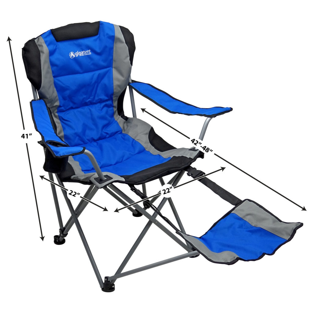Camping Chair With Footrest Ergonomic Portable Footrest Camping Chair Blue Gigatent
