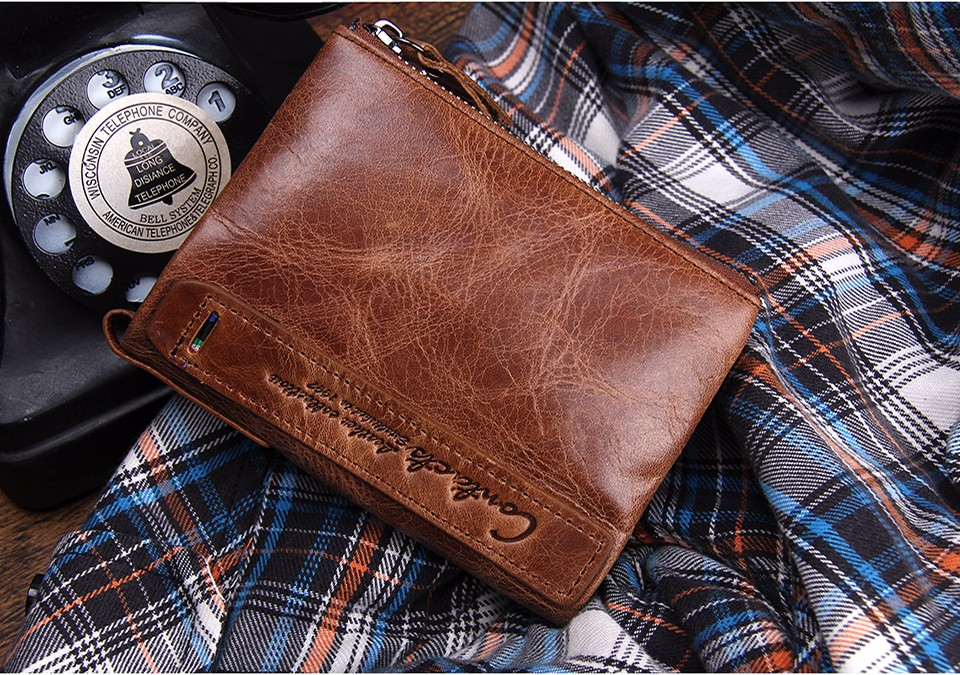 Men's Leather Wallet with Zipper