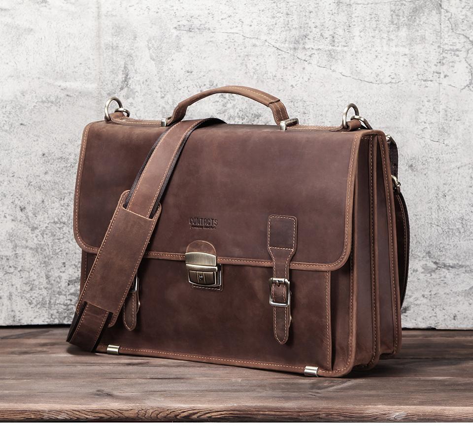 Men's Retro Leather Shoulder Briefcase