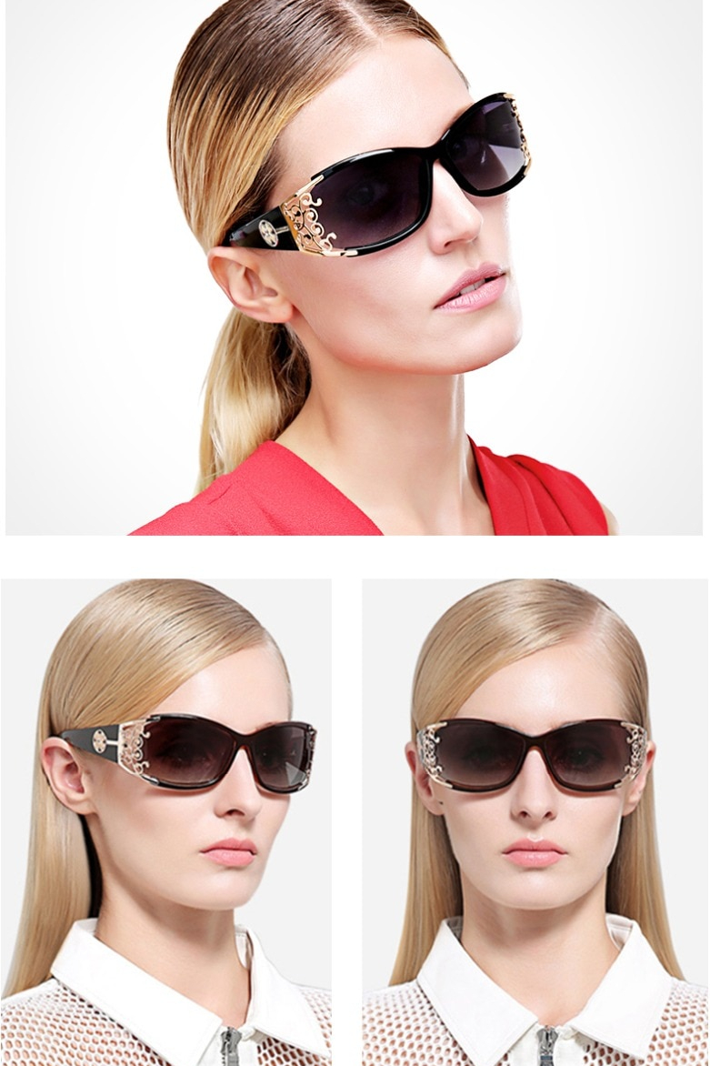 Women's Metal Lace Polarized Sunglasses