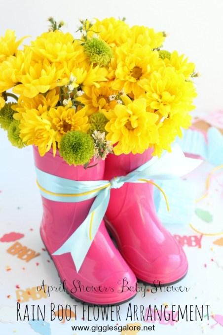 April Showers Baby Shower Rain Boot Flower Arrangement