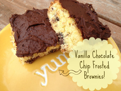 Vanilla Chocolate Chip Frosted Brownies