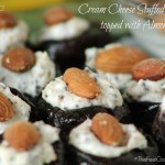 Cream Cheese Stuffed Prunes topped with Almonds