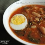 Red Lentil Collard Green Soup with Cannellini Beans and Egg