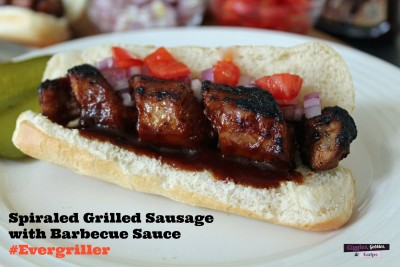 Spiraled Grilled Sausage with Barbecue Sauce