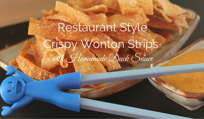Restaurant Style Crispy Wonton Strips with Homemade Duck Sauce