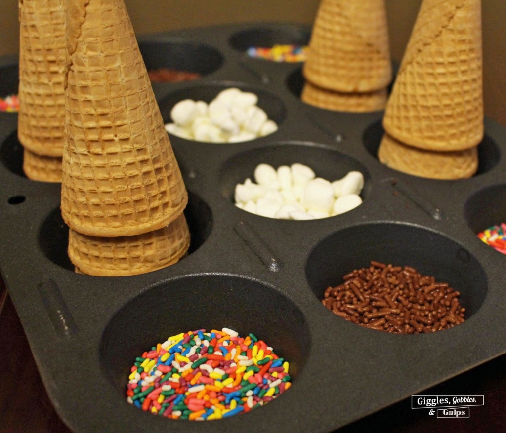 decorated sprinkled cones