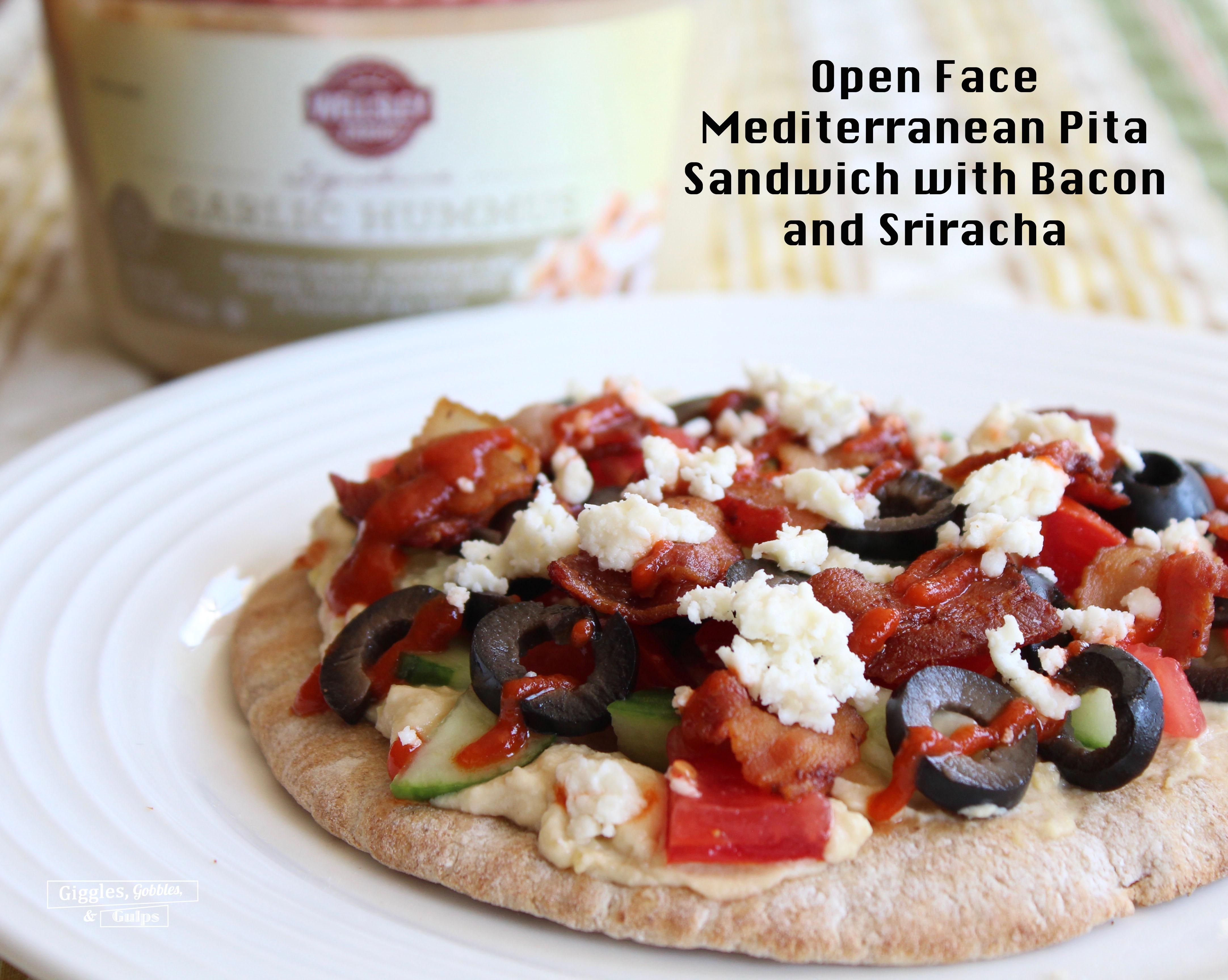Open Face Mediterranean Pita Sandwich
