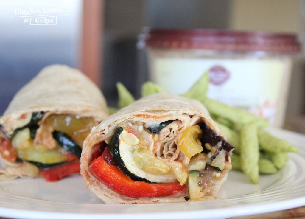 roasted vegetable hummus wrap