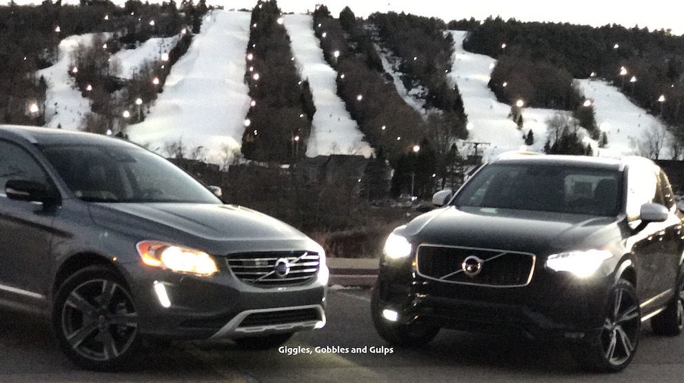 The Volvo XC-60 and the Volvo XC-90 at the bottom of the Poconos Mountains.