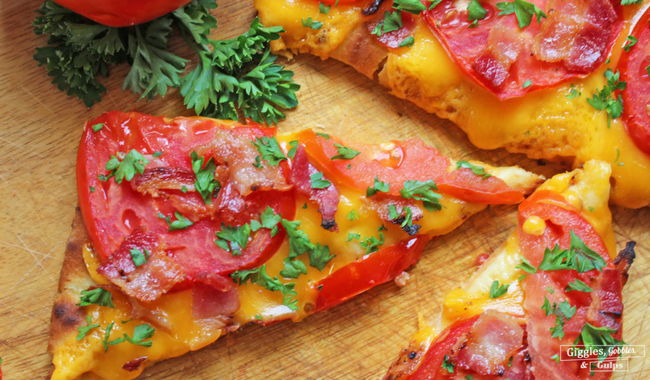 Cheesy Jersey Tomato Bacon Flatbread
