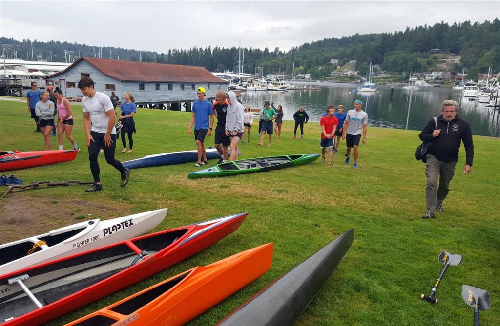 Canoe team practice