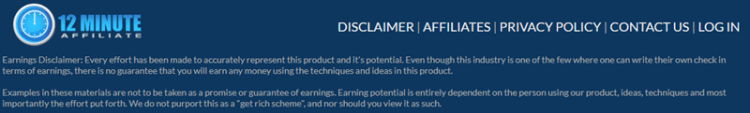 12 Minute Affiliate Review Disclaimer