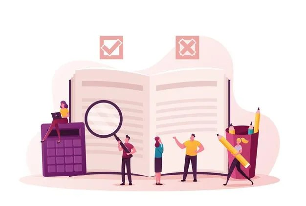 regulation illustration tiny characters write rules checklist with law information 87771 8981